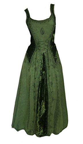 Dark Dreams Gothic Mittelalter LARP Kleid Samt bestickt Schnürung Guinerva, Größe:L/XL, Farbe:grün