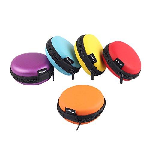 Hüllen für Kopfhörer,SUNGUY [5-pack] Reiseetui für kleine Tasche Tasche Tasche-Ohr-Kopfhörer für Smartphones Fälle für Headsets Bluetooth-Headsets Hard Case EVA-Kopfhörer 5 Farben (rot,gelb,blau,orange,lila) (Headset-tasche)