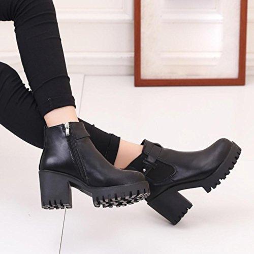 Longra Stivali a punta rotonda del tallone di spessore della muffa di colore solido delle donne Nero