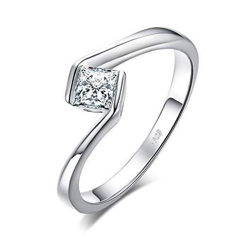JewelryPalace Anillo Corte Princesa 0.5ct Zirconia Cúbica Aniversario Promesa Solitario Compromiso Plata de Ley 925