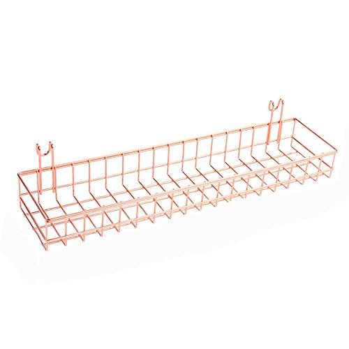 ANZOME Oro Rosa Cestino per Gridwal/griglia Pannello Appeso organizzatore Filo di Metallo mensola Rack Decor Dimensioni 39,9 x 9,9 x 5,1 cm