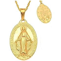 BOBIJOO Jewelry - Petit Pendentif Collier Médaille Vierge Marie Acier Or Femme Fille Enfant+Chaîne