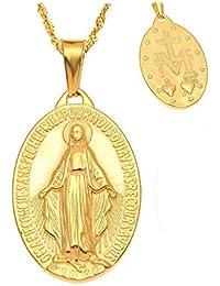 94fb2d90ee86 BOBIJOO Jewelry - Pequeño Colgante De Collar De La Medalla De La Virgen  María De Acero