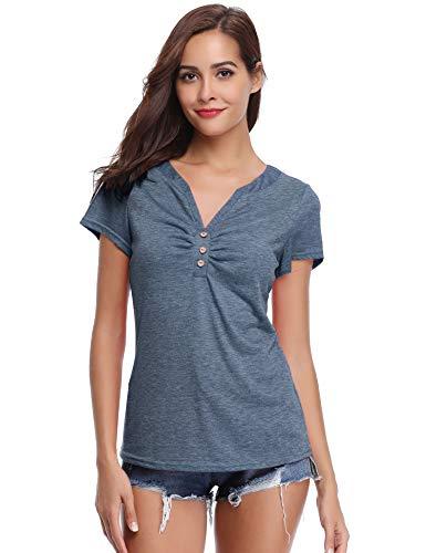 Abollria Damen T-Shirt Kurzarm V Ausschnitt Sommershirt mit Knopf Stretch Oberteil Weiches Dekolleté Top,Dunkelgrau,L -