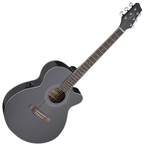 Stagg SA40MJCFI-BK - Guitarra acústica con cuerdas metálicas, color negro