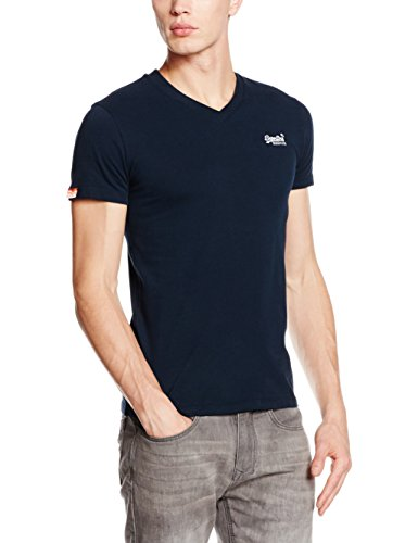 Superdry Herren T-Shirt Orange Label Vintage Emb Vee T blau (Eclipse Navy98T)