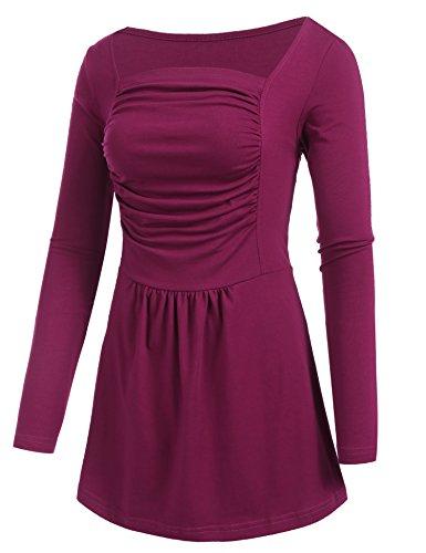 Beyove Damen Langarm Tunika Rüschenbluse Blusenshirt Blusen Sweatshirt Pullover Hemd Bluse Tops Oberteil Herbst Winter Rot