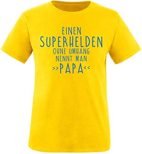 EZYshirt® Einen Superhelden ohne Umhang nennt man Papa Herren Rundhals T-Shirt Gelb/Blau