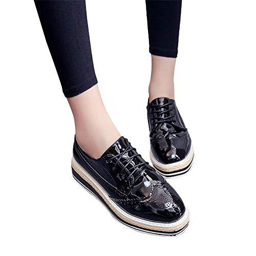 MYMYG Stiefel Sneaker Schuhe Damen im Freien Lederne zufällige Sport-Schuhe schnüren Sich Oben-Soled erhöhen Schuhe Klassische Comfort Weich Lederne Loafers Flache Schuhe Bootsschuhe