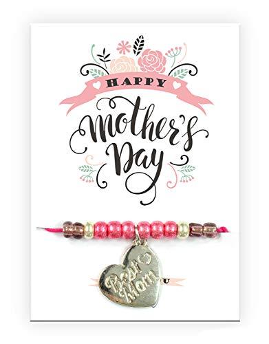 Imagen de pracht creatives hobby pulsera 6014 08275 con colgante de corazón grabado y tarjeta con texto a juego, ideal como pequeño detalle, como agradecimiento o como regalo para el día de la madre
