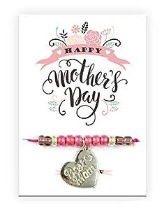 Pracht Creatives Hobby Pulsera 6014-08275 con Colgante de corazón Grabado y Tarjeta con Texto a Juego, Ideal como pequeño Detalle, como Agradecimiento o como Regalo para el día de la Madre