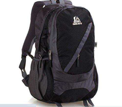 LQABW Außen 35-40L Schulter Mountaineering Oxford Tuch Wasserdicht Polyester Reduzierte Reduzierte Wandernde Kletternde Rucksack Tasche Black