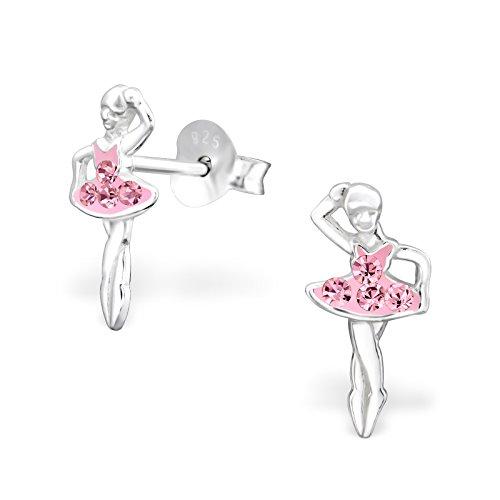 (Mädchen Pink Kristall Ballerina Sterling Silber Ohrstecker 12mm)