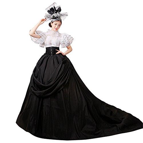 Cosplayitem Gothic Viktorianischen Kleid Kostüm Palace Masquerade Kleider für Damen Mädchen Set von Kleid Hut Petticoat Schwarz Weiß