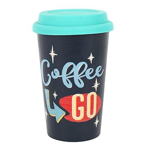 Coffee to Go Thermobecher, Thermo, isolierte Gummi Deckel, Keramik. H: 13.50?x W: 8,70?x D: Uhr