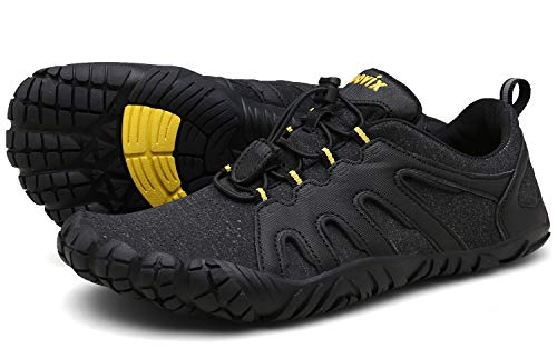 Voovix Herren Damen Barfußschuhe Fitnessschuhe Laufschuhe Minimalistische Traillaufschuhe Trekkingschuhe Wanderschuhe Outdoor Sneaker im Sommer Schwarz/Gelb43
