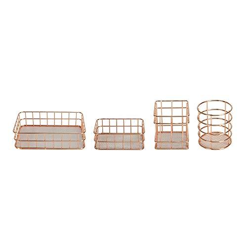 Set mit 4 Roségold-Körben | Desk Organizer Rose Gold | Aufbewahrungskorb aus Metall | Rose Gold Drahtkorb | Rose Gold Schreibtischzubehör | M&W