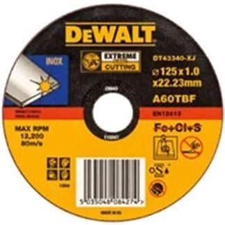 DeWalt DT43341-XJ – Disco abrasivos plano extreme para cortar acero inoxidable, 125 x 1,6 x 22,2 mm, 1 unidad