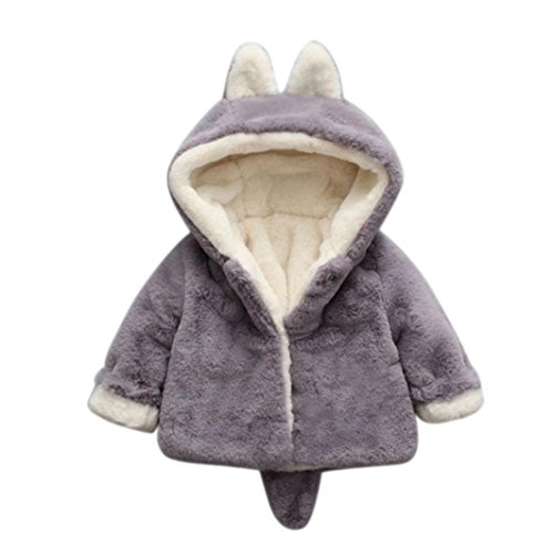 (Baby-Säuglings-Mädchen-Jungen-Herbst-Winter-mit Kapuze Mantel-Mantel-Jacke-Starke warme Kleidung Xinantime (0-6 Monat, Grau))