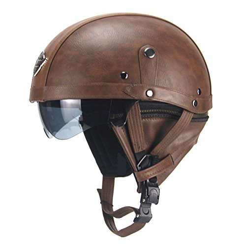 Seasaleshop Motorrad Helm Roller-Helm Helmet 56-61cm Leather Scooter-Helm Flip-Up-Helm Sturz-Helm Integral-Helm Cruiser Klapp-Helm Modular-Helm by