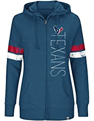 "Houston Texans Women's Majestic NFL ""Tradition"" Full Zip Hooded Sweatshirt Chemise"