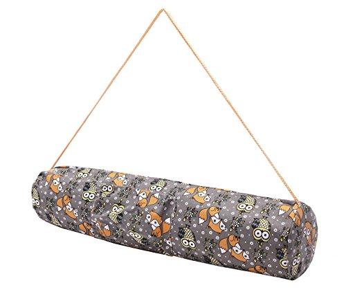 Borsa da yoga piccola »Rukmini« di #DoYourYoga in 100% tela di cotone Canvas, bellissima lavorazione, adatta ai tappetini da yoga e pilates di dimensioni fino a 186 cm x 62 cm x 0,3 cm, fantasia scura volpi & civette.