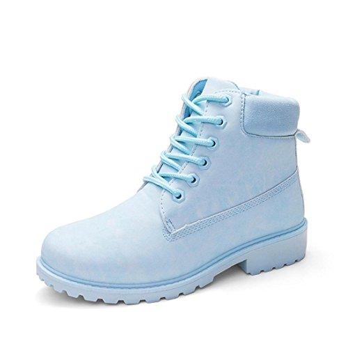 Stylische Damen Stiefeletten, Sunday Frauen Faux Stiefel Ankle Boots Casual Worker Boots Spitze Knöchelhohe Gesteppt Damenschuhe Leder-Optik Ketten Blockabsatz Martin Schuhe (Blau, 38 EU) (Gesteppte Stiefel Wasserdichte)