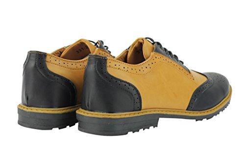 Nuovo da uomo bicolore nero e marrone chiaro mix in finta pelle Smart Casual lacci scarpe Taglie UK Black-Tan