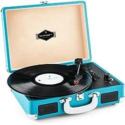 auna Peggy Sue • tocadiscos • reproductor de vinilos • accionamiento por correa • altavoces estéreo • puerto USB • reproducción y digitalización • control de volumen • salida de línea • azul
