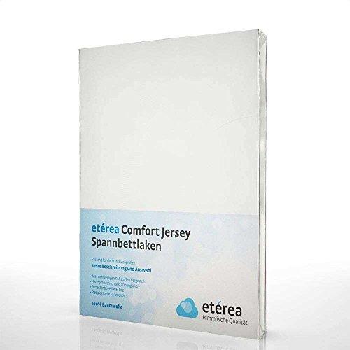 Etérea Kinder Jersey Spannbettlaken - Serie Comfort - 100% Baumwolle Spannbetttuch Farbe Weiß, in der Größe 60x120-70x140cm