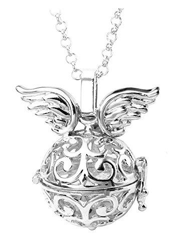 Ciondolo a forma di angelo angioletto jovivi visitatore di angelo timando squllla schwa borraccia collana 7 x Ø codolo 16 mm pietra sfere con 71 cm catena