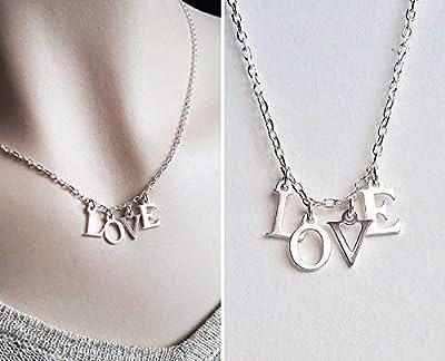 Collier argent femme, lettres LOVE