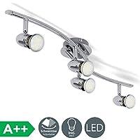 Faretti LED da soffitto orientabili, Plafoniera LED, include 4 lampadine GU10 da 3W 250Lm, luce calda 3000K, lampadario moderno in metallo cromato per cucina o camera da letto, 230V, IP20