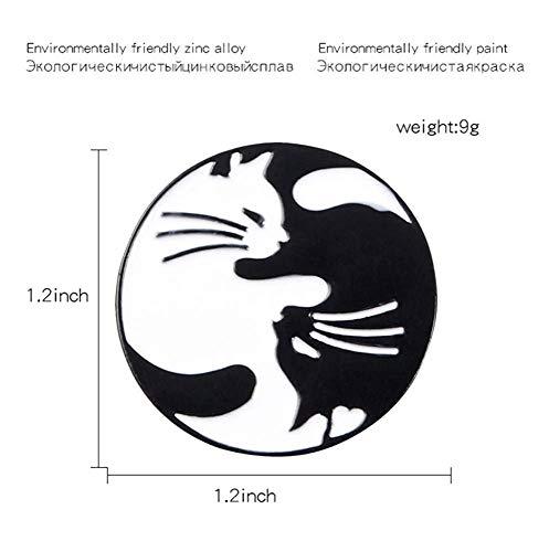 X-Z Pasadores de Gato Negro Blanco Dos Gatos Broches Insignias Joyas de Gato Joyería