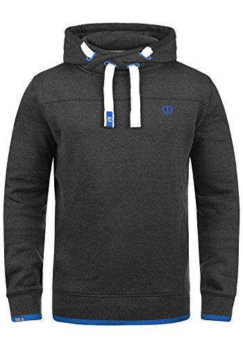 !Solid Benjamin Hood Herren Kapuzenpullover Hoodie Pullover Mit Kapuze Cross-Over-Kragen Und Fleece-Innenseite, Größe:L, Farbe:Dark Grey Melange (8999)