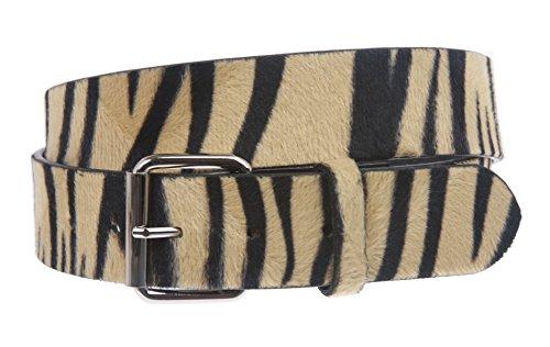 Cinturón con estampado de cebra de 3,81 cm -  Marrón -   Large - 40