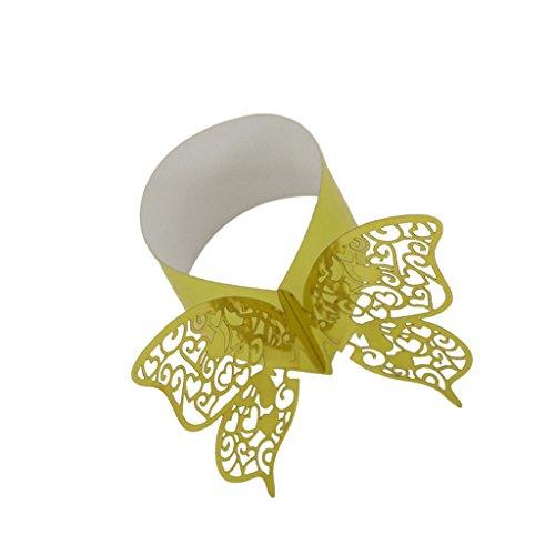 Nouveauté 50pcs Ronds de Serviette Papillon Découpé Anneaux Porte-serviette Décor Table pour Noël - Or