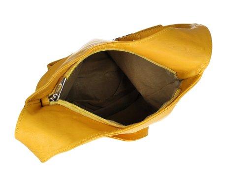 Ital. Croce borsa a tracolla per donna in nappa con scelta di colori 24,5x 28x 8,5cm (W x H x D) - YELLOW