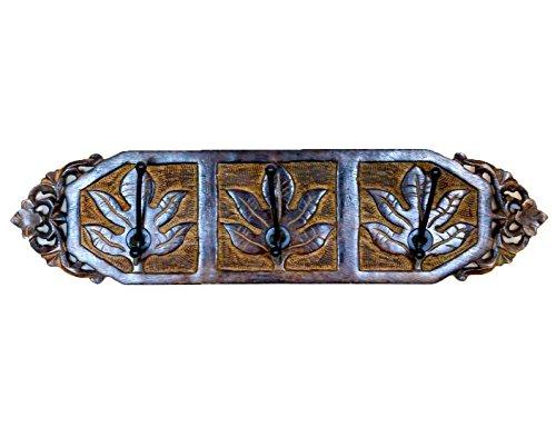 Stylla London handgeschnitzt Maple Leaf Design Wand Mantel Haken Schiene, Holz, braun, 48,26x 48,26x 12,7cm -