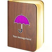 Personalised Wooden Folding Magnetic LED Book Lamp Featuring Umbrella Emoji