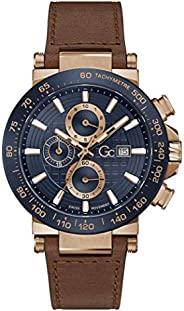 Gc Mens Quartz Watch, Chronograph Display And Leather Strap - Y37002G7MF