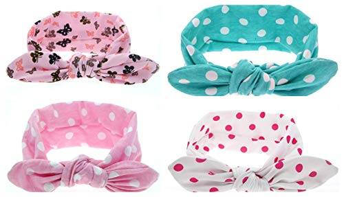 Skudgear Baby Knotted Headbands with Dotted Pattern - Pack of 4 (Multicolour)