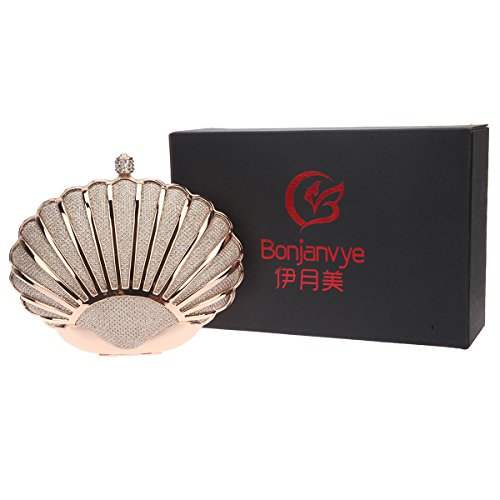 Handbags for Champagne Wedding Clutch Bonjanvye Purses Lovely Mini Seashell Red Girls for Evening Party AFzqI0w