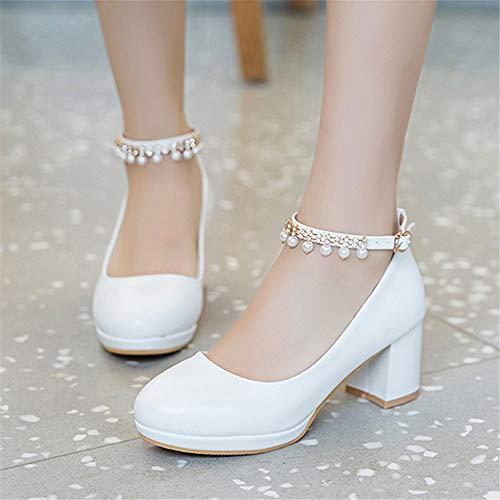WJMLHLGG Frauen Hochzeit Schuhe Kristall Knöchelriemen Brautschuhe Frau Kleid Schuhe Pumpt Süße Partei Schuhe (Kristall Hochzeit Kleid)