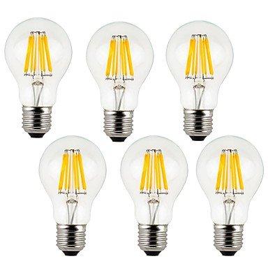 CHUCHEN 8W E26/E27 Lampadine LED a incandescenza A60(A19) 8 COB 800 lm Bianco caldo / Luce fredda Decorativo AC 220-240 V 6 pezzi , warm white