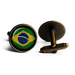 Brazil Brazilian Flag Brasilien Brasilianische Flagge Antike Bronze Manschettenknöpfe