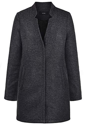 VERO MODA Mania Damen Winter Jacke Wollmantel Winterjacke Mantel Mit Reverskragen, Größe:M, Farbe:Dark Grey Melange