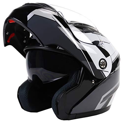Qianliuk CT-999 Uomini Donne Bluetooth Completo Moto Casco Doppio Obiettivo Moto Casco Motocross Tappo di Sicurezza per Quattro Stagioni 58-63cm