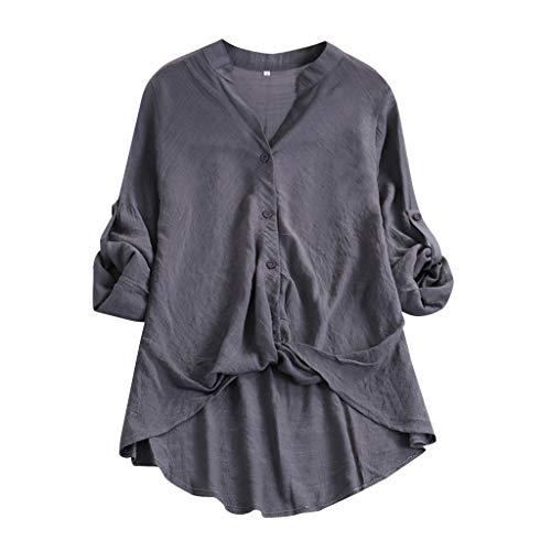 Camicetta donna elegante manica lunga elegante in cotone e lino con button-down sottile a maniche lunghe casual moda 2019 nuovo s,m,l,xl,xxl