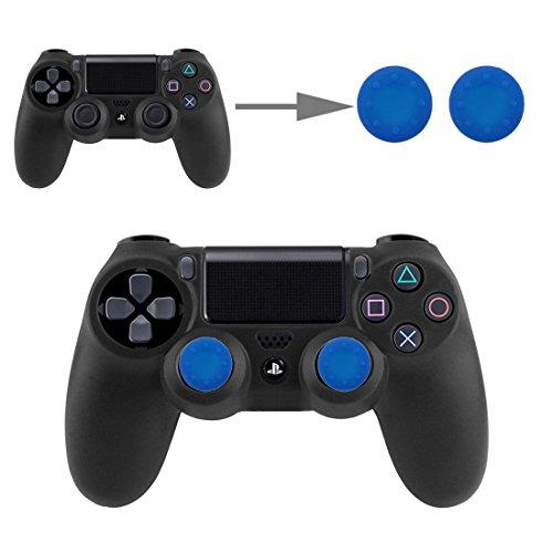 Controller Aufsätze Thumbsticks Analog Stick Kappen Silikon Schutzkappen Control Sticks für DualShock Gamepad Sony Playstation PS4 Pro, PS4, PS3, PS2, Xbox One X, Xbox 360, Nintendo Switch in Blau